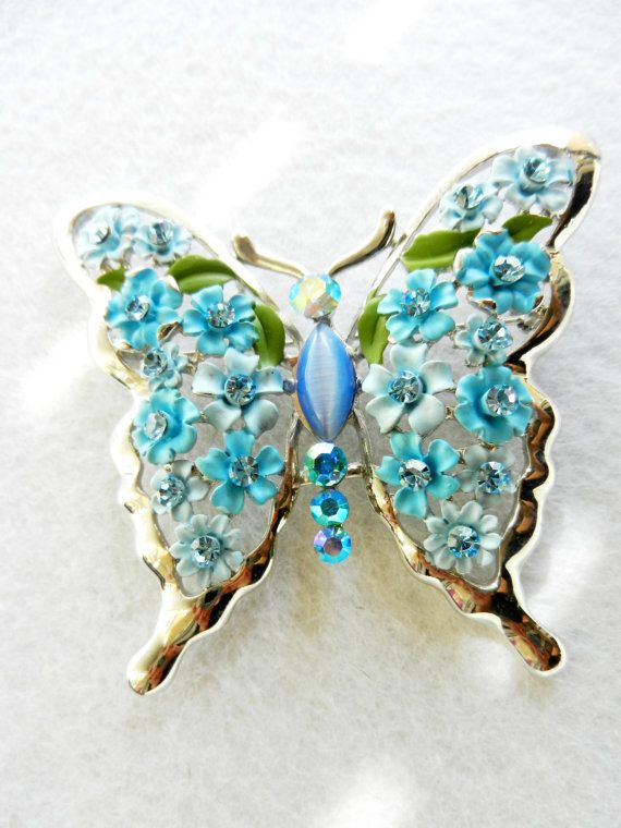 Gorgeous vintage brooch 1960, Italian - a butterfly with magnificent wings, richly worked - jewel collection-art.908-
