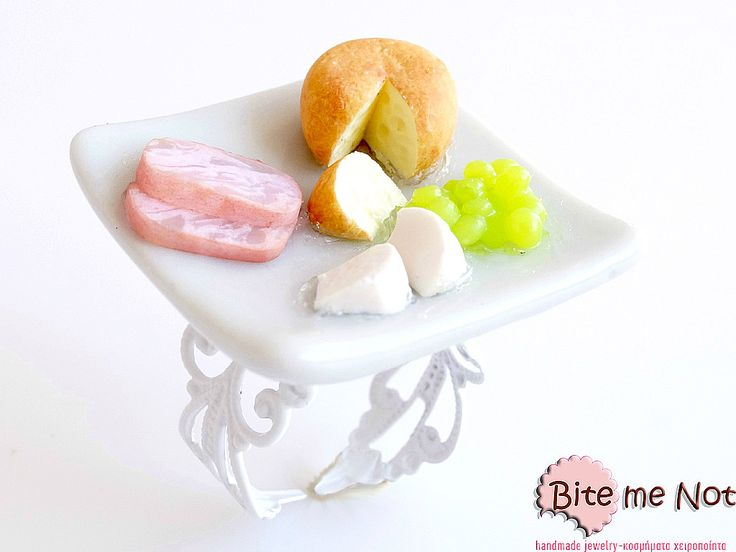 Gourme Ring!  -White adjustable filigree nickel free ring base -White ceramic plate on which are served assorted cheese,grapes and smoked ham!