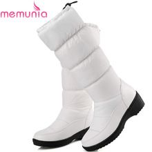 MEMUNIA NOVO 2017 moda manter quente do joelho botas de neve dedo do pé redondo de couro macio quente para baixo inverno grosso fur inverno sapatos alishoppbrasil