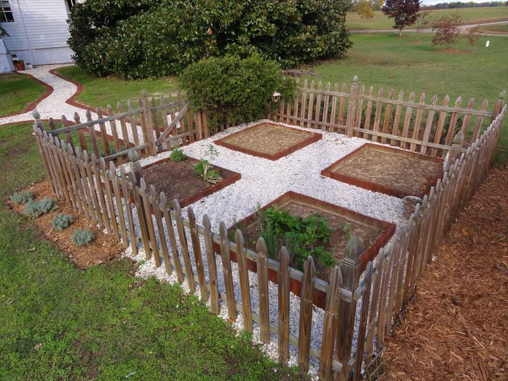 The small herb garden at Mahockney. Crushed clamshells and brick. | Karin Andrews Real Estate . . .Experience, Diligence, Results.