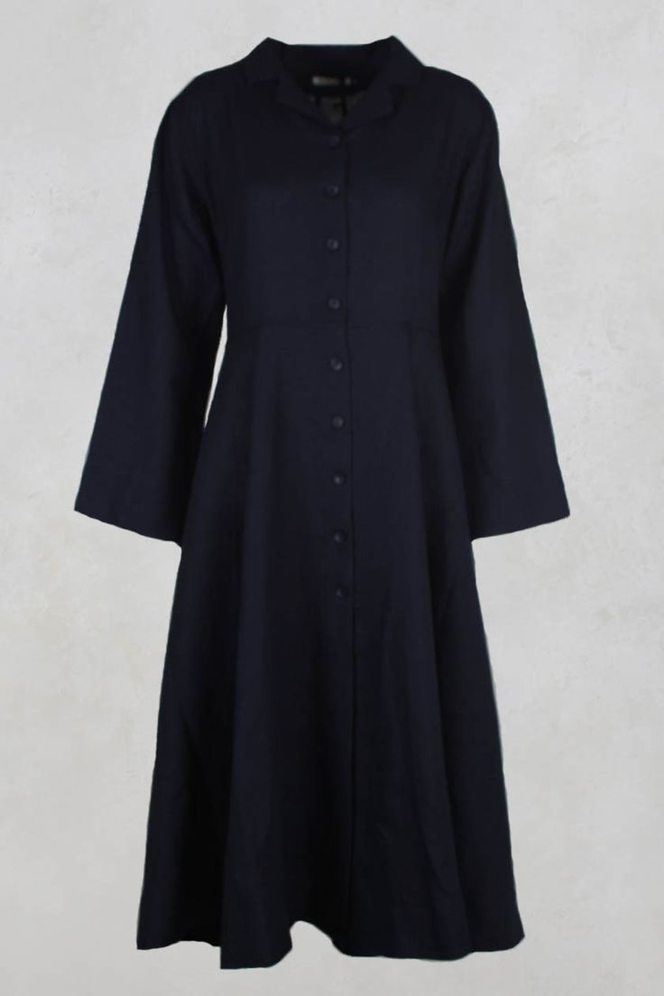 Long Linen Coat with Tie Back in Navy - Les Filles D'ailleurs