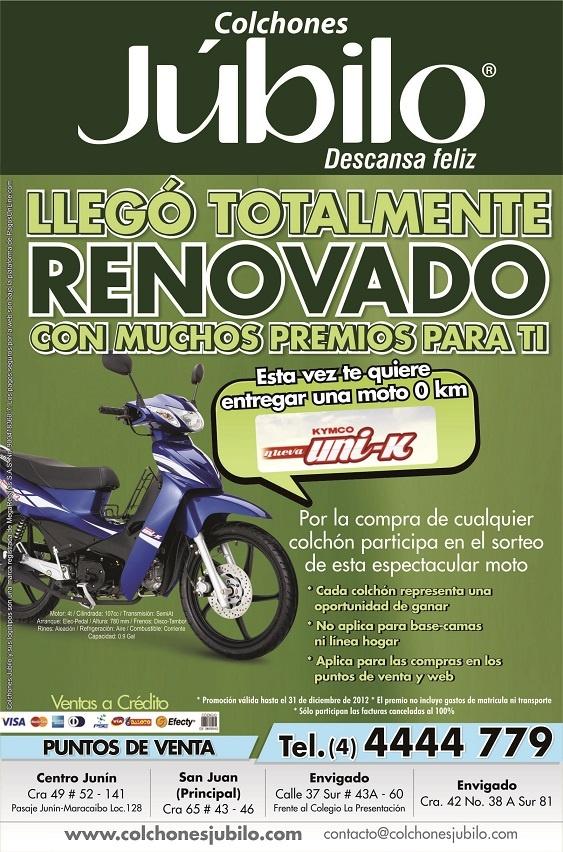 Ganate una moto UNI-K con COLCHONES JUBILO