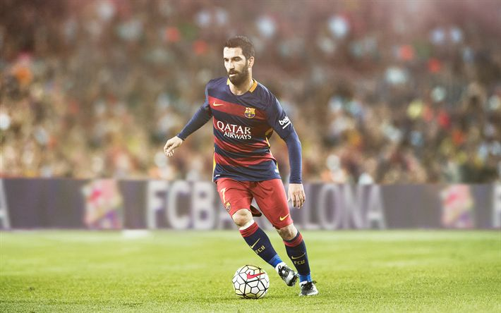 Download wallpapers Arda Turan, Barcelona, La Liga, footballers, Barca, soccer, FC Barcelona
