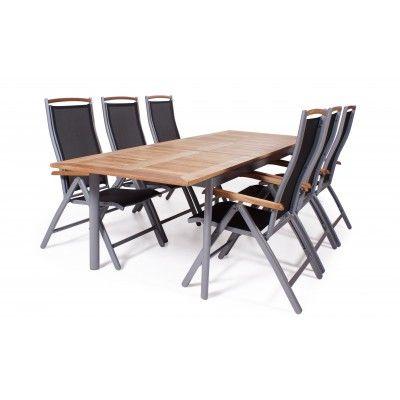 Nice matgrupp-Silver/svart i teak -6 fåtöljer, bord 202-260 cm & pall-