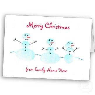 Fingerprint Snowman Christmas Card - Personalize card