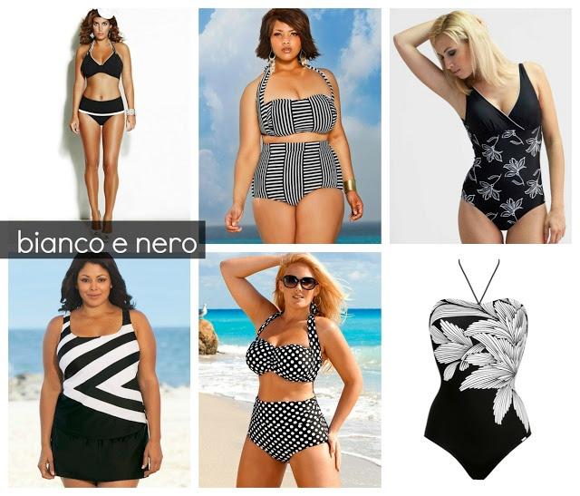 Costumi taglie comode bianco e nero 2013 fashion trends - Costumi da bagno oversize ...