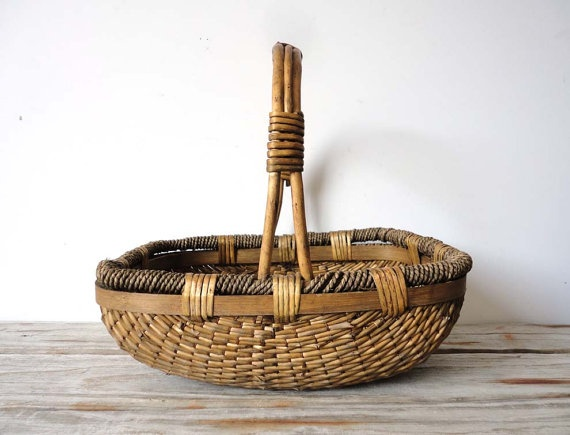 Handcrafted Reed Asian Basket with Wooden Handles by OceanSwept, $55.00