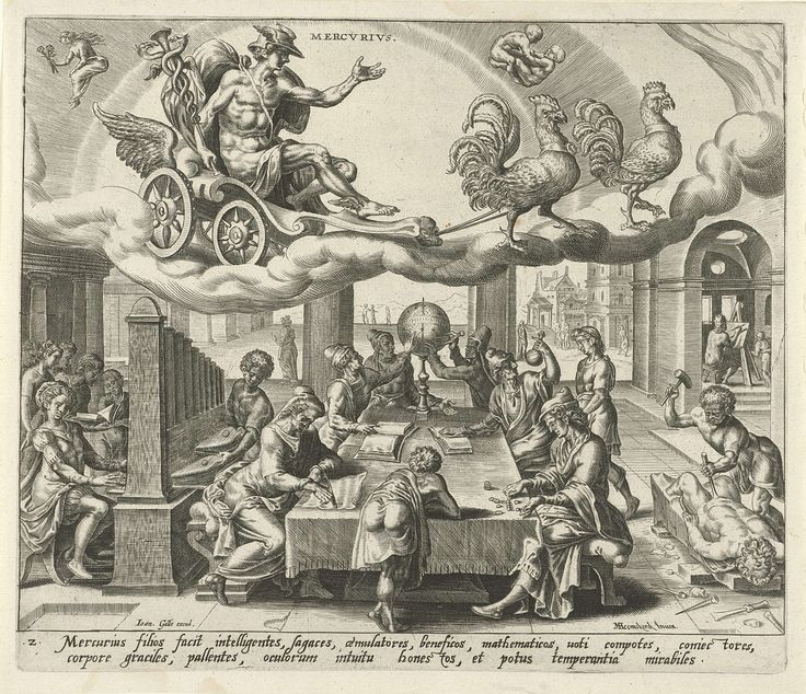 De planeet Mercurius en zijn kinderen, Harmen Jansz Muller, Joannes Galle, 1566 - 1570