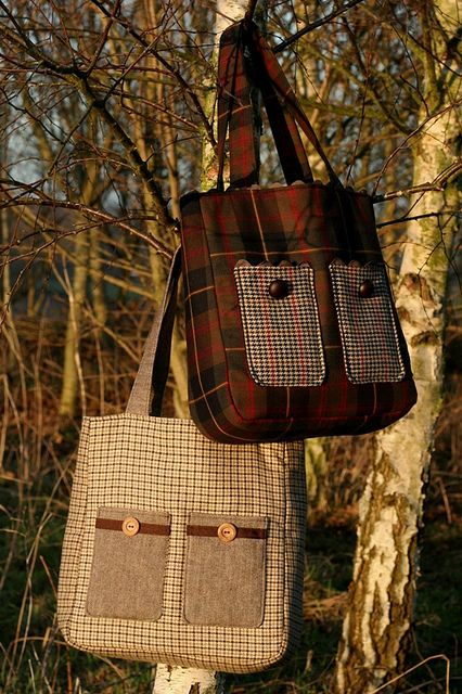 Tweed & tartan bags - pic for inspiration. Could be made with repurposed wool blazers or mens jackets