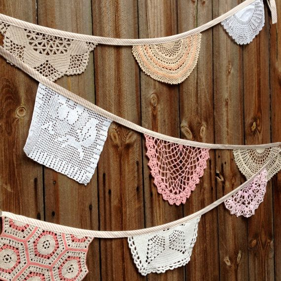 Vintage Doily Wedding Bunting Garland (Grande Cherry Blossom) Handmade Crochet in Pink, Peach, Beige, White and Cream