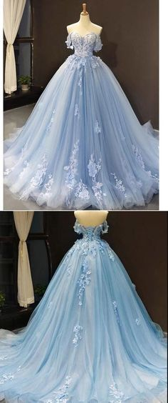 Charming Off the Shoulder Appliques Tulle Ball Gown Prom Dresses, Light Blue Formal Evening Dress