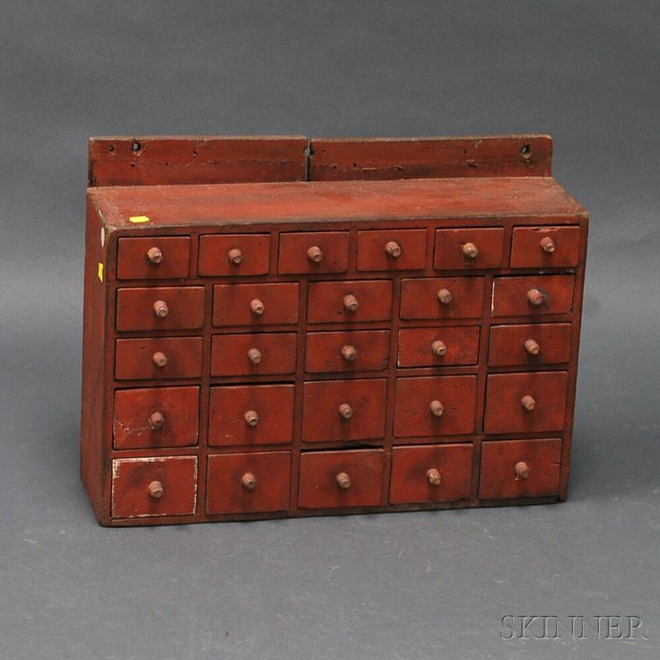 Small Red Painted Hanging Apothecary Cupboard, America, 19th Century,  (imperfections)