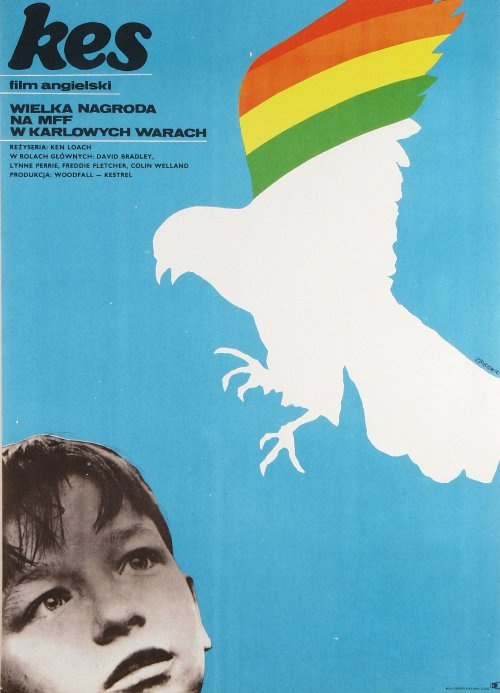 Kes, Polish Movie Poster ( vintage graphic design / poland / poster art / bird / blue )