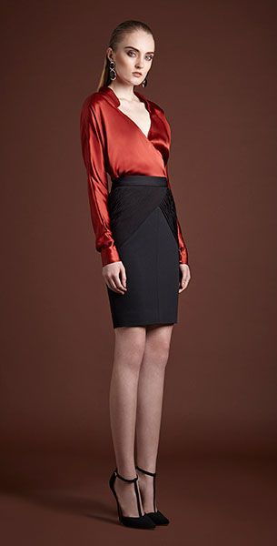 VATANIKA, Silk Satin Blouse Red, Ss1543 _ Hand Draped Silk Chifon Trimmed Rayon blend Pen Skirt Black
