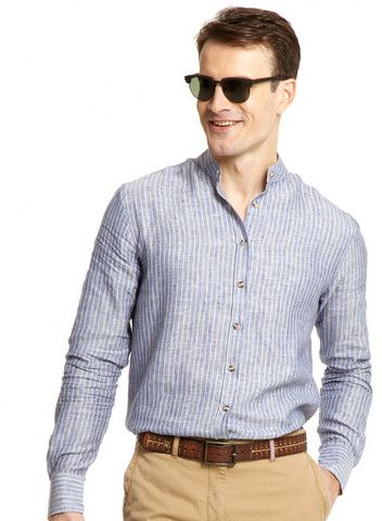 Mens Linen Collarless Shirt | Mens Travel Clothing | Gerald Webster