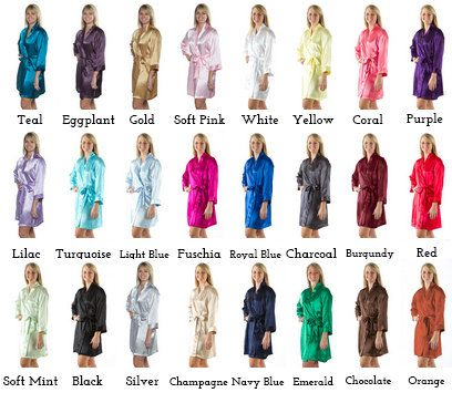 Plain Robes for your Bridesmaids and whole bridal party are perfect gifts. Pictures while getting ready look gorgeous! MADE IN THE USA! NEVER