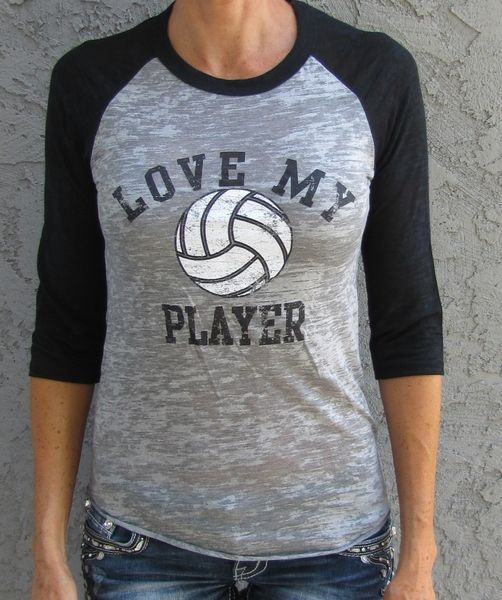Love My Player VOLLEYBALL | Sideline Chic Available in tank or raglan. Great for volleyball moms and volleyball fans! Customize back with player name/number.