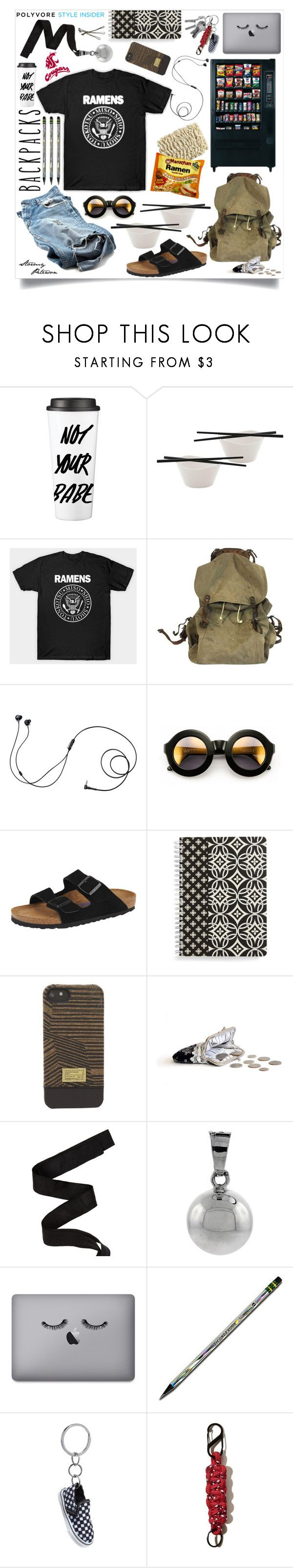 """*I Wanna Be Sedated* Rule School: Cool Backpacks - College Edition"" by stormypeterson ❤ liked on Polyvore featuring BergHOFF, sOUP, Marshall, Wildfox, Birkenstock, Vera Bradley, HEX, Oscar de la Renta, Harmony Ball Company and Vans"