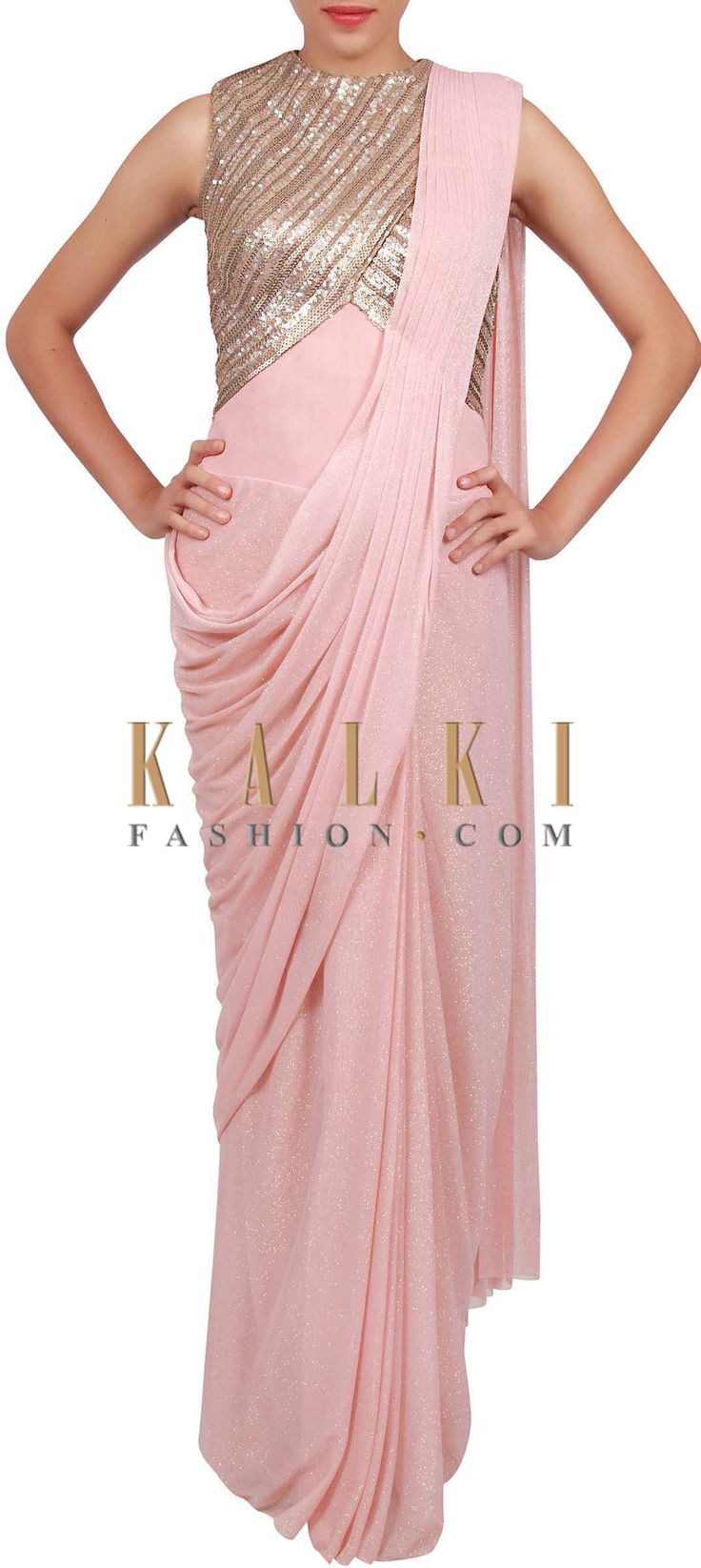 Buy Online from the link below. We ship worldwide (Free Shipping over US$100) http://www.kalkifashion.com/pink-saree-gown-enhanced-in-pleats-and-sequin-embroidery-only-on-kalki.html