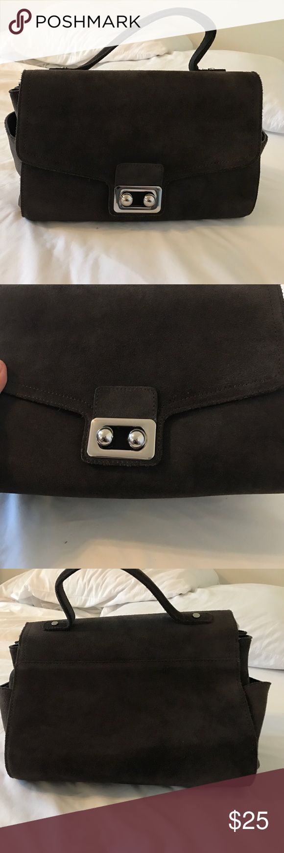 Preowned zara suede bag with straps Grey. Preowned used a couple times to work. Brought online last year when it came out. Ask questions. May show of wear on hardware and and suede. Zara Bags