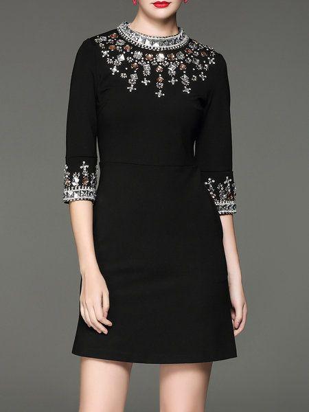 Shop Mini Dresses - Black Beaded Cotton-blend 3/4 Sleeve Mini Dress online. Discover unique designers fashion at StyleWe.com.