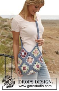 "Crochet DROPS bag with granny squares in ""Paris"". ~ DROPS Design...ALWAYS remember to line your crochet bags/purses with cotton fabric...or else they will continuously GROW & STRETCH with  time."