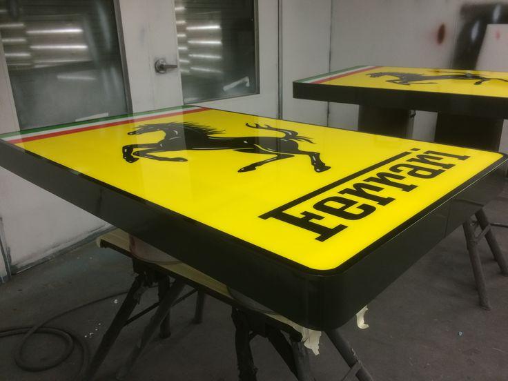 Ferrari Signs produced at the Benga Designs workshop, ready for installation at the New Ferrari Brisbane Showroom. #Ferrari #Bengadesigns