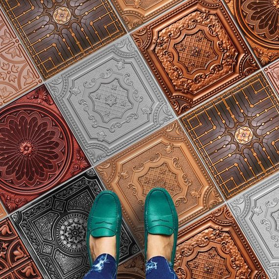 Copper Bronze And Silver Tile Stickers Suitable For Wall And Floor Waterproof All Sizes Modern Decor Art Print P Silver Tile Silver Walls Decorative Tile