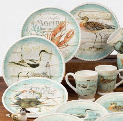 Beach Cottage Dinner Plate, by Certified International. Lovely ocean-inspired ceramic dishes in a soothing color palette of neutral sands, ivory, and beach-glass-blue. Features artwork of sea birds, blue crabs, and red lobsters, by Susan Winget. This is for the Dinner Plates, sold as a set of 4 (1 each of the images shown in photo) Measures 11 inches. Microwave...
