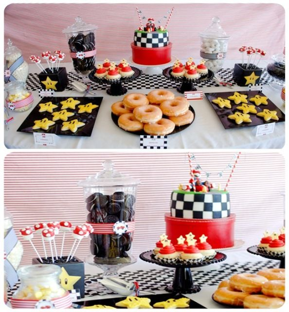 Mario Kart Race Car Birthday Party - the husband would love this as much as the little guy would!! (lots more photos/ideas at the website)