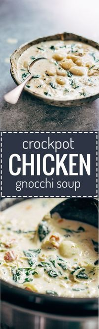 Crockpot Chicken Gnocchi Soup - a simple, velvety, back-to-basics meal! Easy to make with familiar ingredients - chicken, garlic, spinach, carrots, evaporated milk, and bacon.   pinchofyum.com