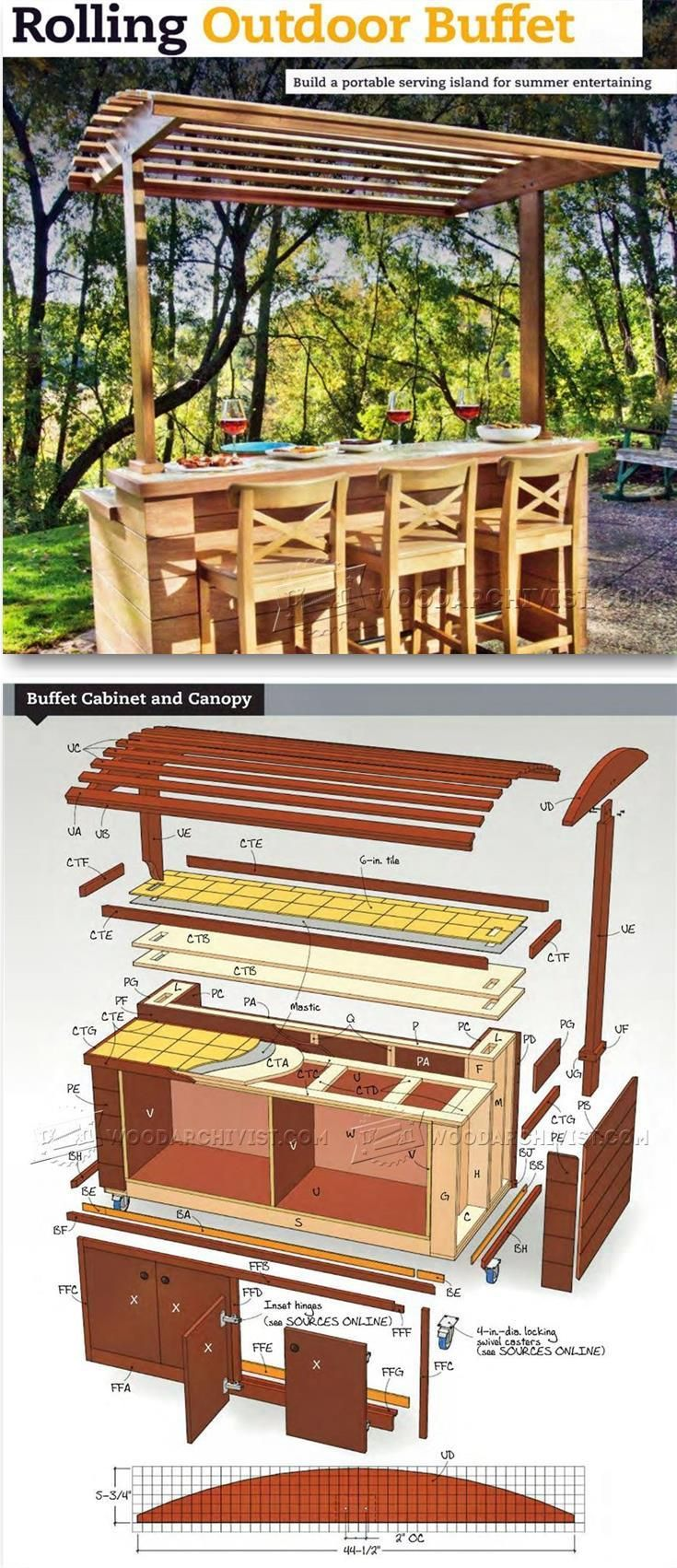 Rolling Outdoor Buffet Table Plans - Outdoor Furniture Plans & Projects | WoodArchivist.com