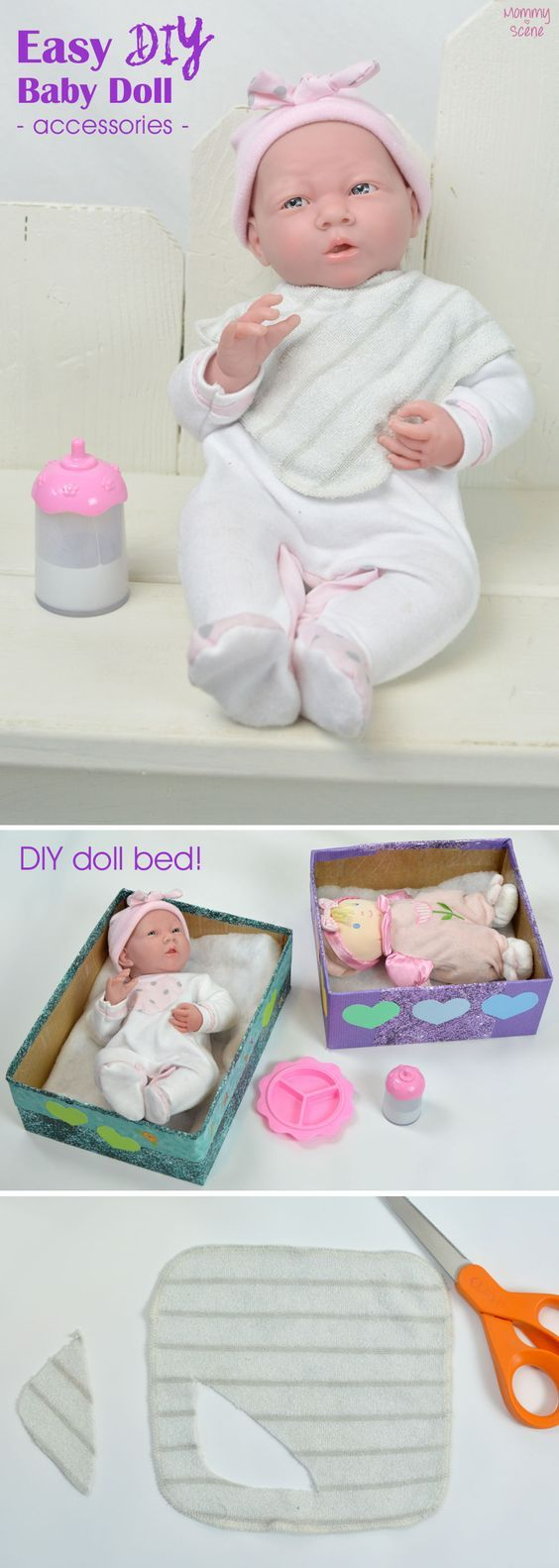 Easy no-sew baby doll bibs and DIY doll bed - Mommy Scene