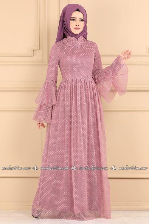 Modaselvim Elbise Cicek Detayli Tesettur Elbise Ygs6217 Gul Kurusu The Dress Maksi Elbiseler Moda Kiyafetler