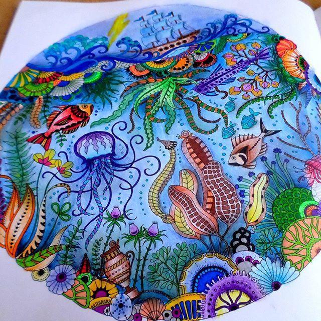 Lostocean Coloring Coloringbook Johannabasford Fabercastell Enchantedforest Secretgarden