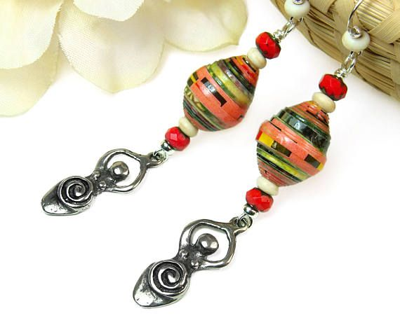 Nice for #Summer! Mother #Goddess #Earrings w #African Beads, #Fertility Symbol, by #PrettyGonzo #Jewelry - #tribal #boho #pagan #wiccan #earthmother #ancientsymbol - #CPromo
