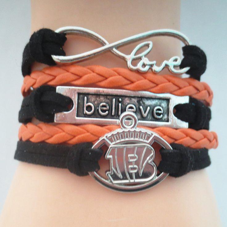 Infinity Love Cincinnati Bengals 2016 B Football Bracelet BOGO