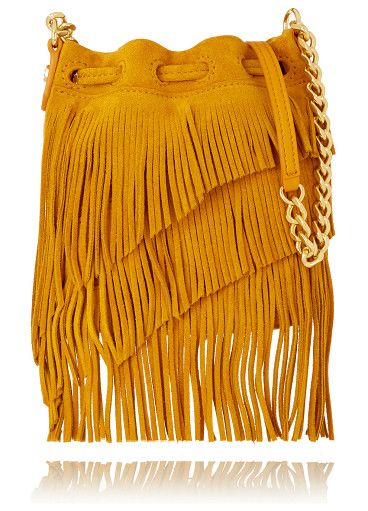On SALE at 60% OFF! fringed suede bucket bag by Elizabeth and James. Mustard suede (Cow, Lamb) . Drawstring top . Designer color: Ochre . Comes with dust bag . Weighs approximately 1.1lb...