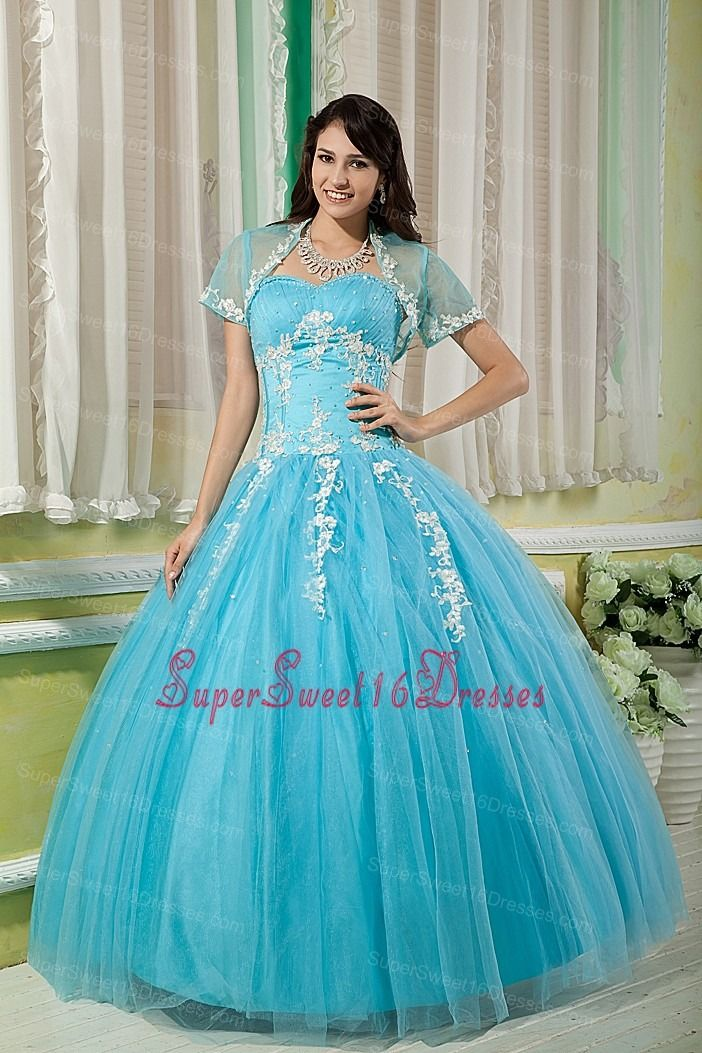 Cheap Aqua Ball Gown 15 Sweet 16 Dress Sweetheart Tulle Appliques Floor-length