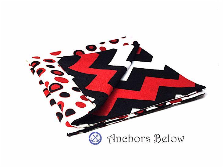 Red and Black Pocket Square, Chevron Pocket Square, Polka Dot Pocket Square, Red Black White Pocket Square, Double Sided Pocket Square by AnchorsBelow on Etsy