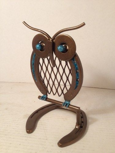 Metal Owl on Perch made from Horseshoes and scrap metal | AmericanMetalArt - Metal Craft on ArtFire @Kayla Barkett Kuhnle