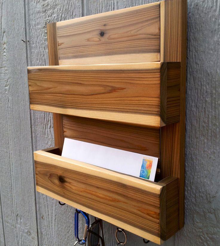2 Pocket Mail and Key Holder / Optional Top Shelf / Key Rack / Dog Leash Holder / Entryway Organizer / The Monica by CedarOaks on Etsy https://www.etsy.com/listing/216766591/2-pocket-mail-and-key-holder-optional