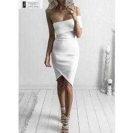 2726-Λευκό φόρεμα με βολάν MIDI ασύμμετρο