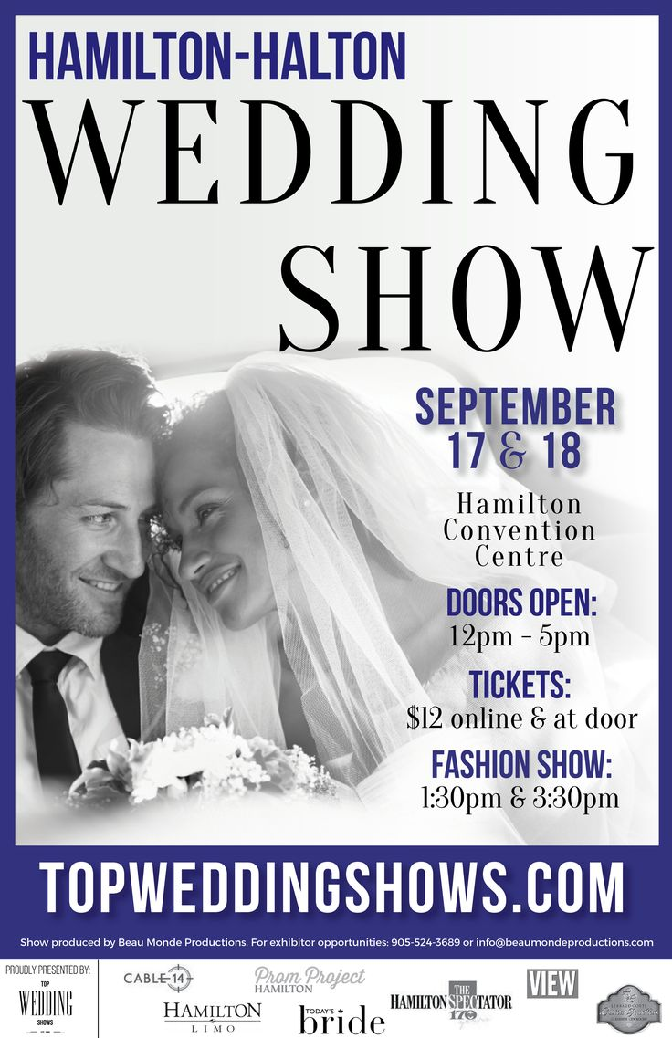 "The Hamilton Halton Fall Wedding Show is quickly approaching on September 17 & 18 at the Hamilton Convention Centre. Grab your tickets now and you will get $2 off your ticket price with coupon code ""FBH16"". Save 50% off admission when you come to the show between 2pm-5pm with coupon code ""FBH50"". http://bit.ly/2b18ZOc"