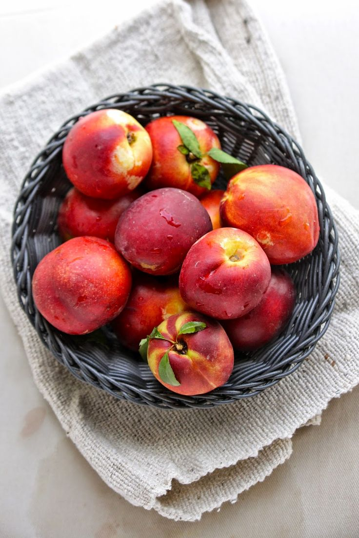 Nectarines in a bowl. Up close and personal.