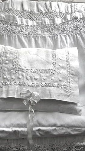 Beautiful, I like linen mixed up with rusty,chippy  Inspiring items.  Linens: a lot like having soft white clouds surrounding you.