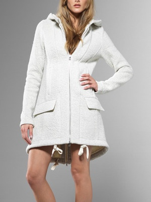 Parka Coat with hood, wool fix fabric, felted aspect, maxi-zip detail exposed, drawstring belt - 4S0094-AN123 -