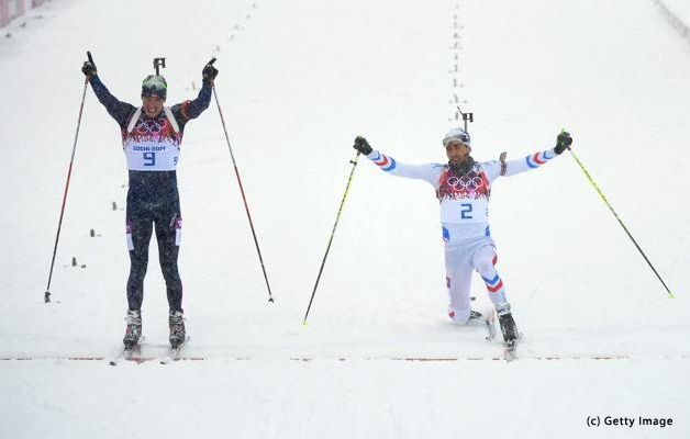 Twitter / Sochi2014: The old rivals meet again right at the finish line. Martin Fourcade of France and Emil Hegle Svendsen of Norway. Biathlon at its best at Sochi 2014.