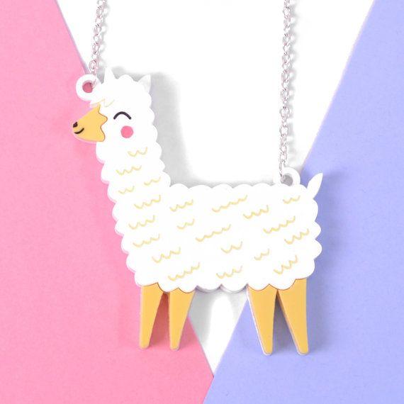 Cute Llama Necklace  Llama Gift  Acrylic Jewellery  Animal