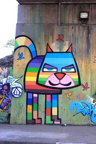 Colourful #cat #graffiti #streetart